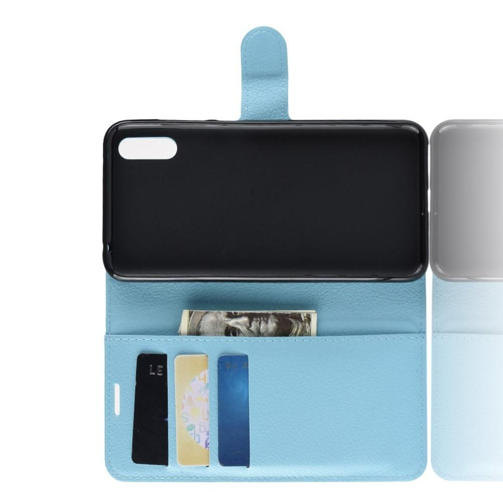 Флип чехол книжка с кошельком подставкой отделениями для карт и магнитной застежкой для Huawei Y7 Pro 2019 Голубой