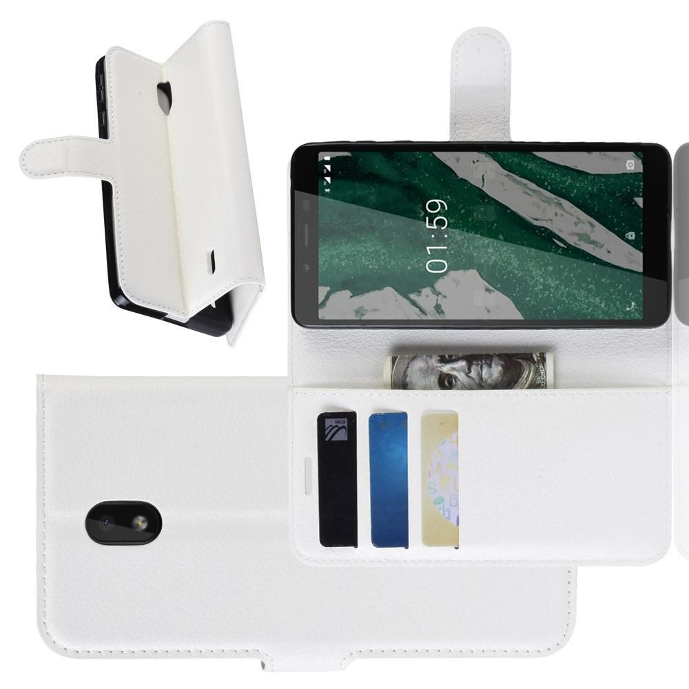 Флип чехол книжка с кошельком подставкой отделениями для карт и магнитной застежкой для Nokia 1 Plus Белый