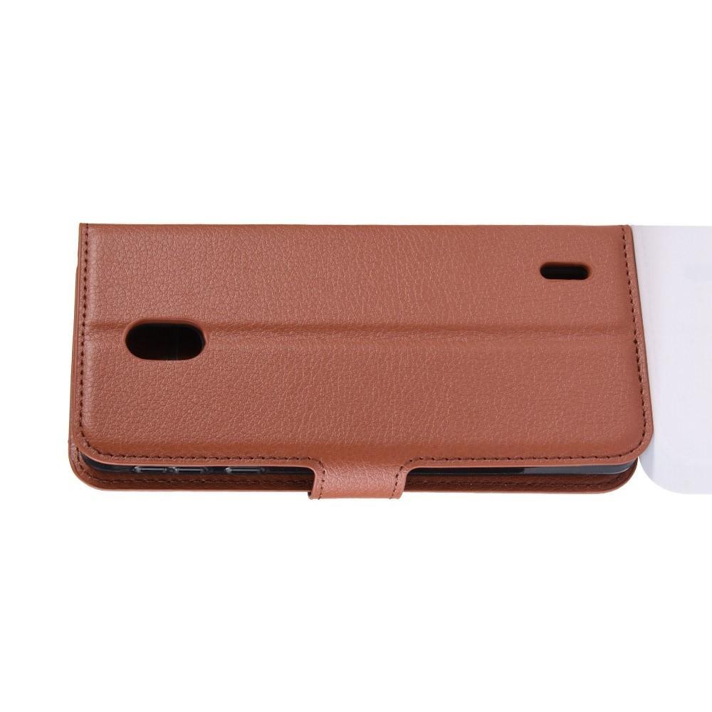 Флип чехол книжка с кошельком подставкой отделениями для карт и магнитной застежкой для Nokia 1 Plus Коричневый