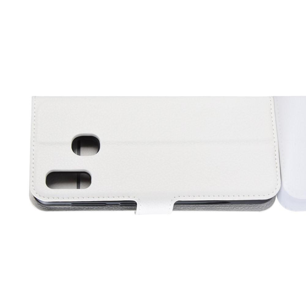 Флип чехол книжка с кошельком подставкой отделениями для карт и магнитной застежкой для Samsung Galaxy A20e Белый