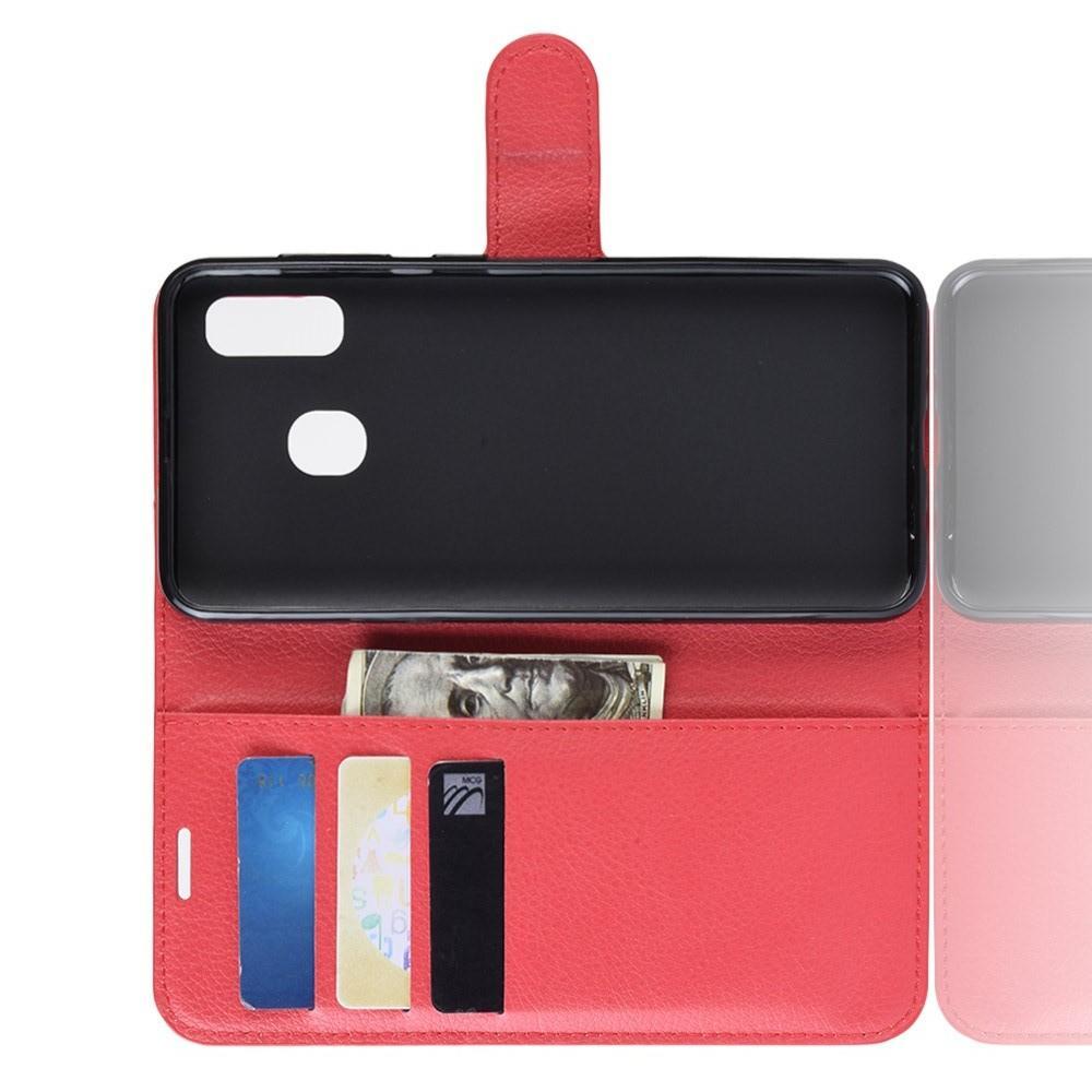 Флип чехол книжка с кошельком подставкой отделениями для карт и магнитной застежкой для Samsung Galaxy A20e Красный