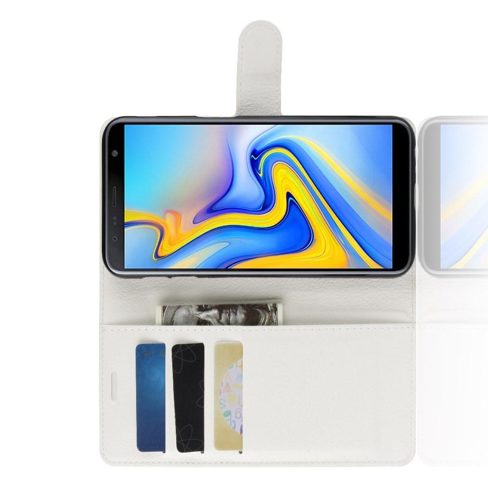 Флип чехол книжка с кошельком подставкой отделениями для карт и магнитной застежкой для Samsung Galaxy J6 Plus 2018 SM-J610F Белый