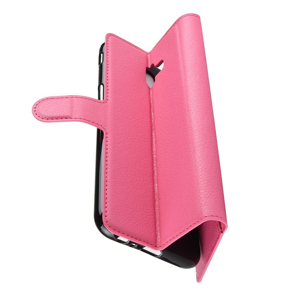 Флип чехол книжка с кошельком подставкой отделениями для карт и магнитной застежкой для Samsung Galaxy J6 Plus 2018 SM-J610F Розовый