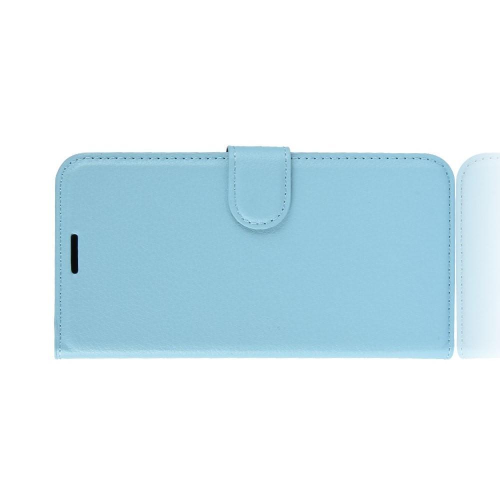 Флип чехол книжка с кошельком подставкой отделениями для карт и магнитной застежкой для Samsung Galaxy J6 SM-J600 Голубой