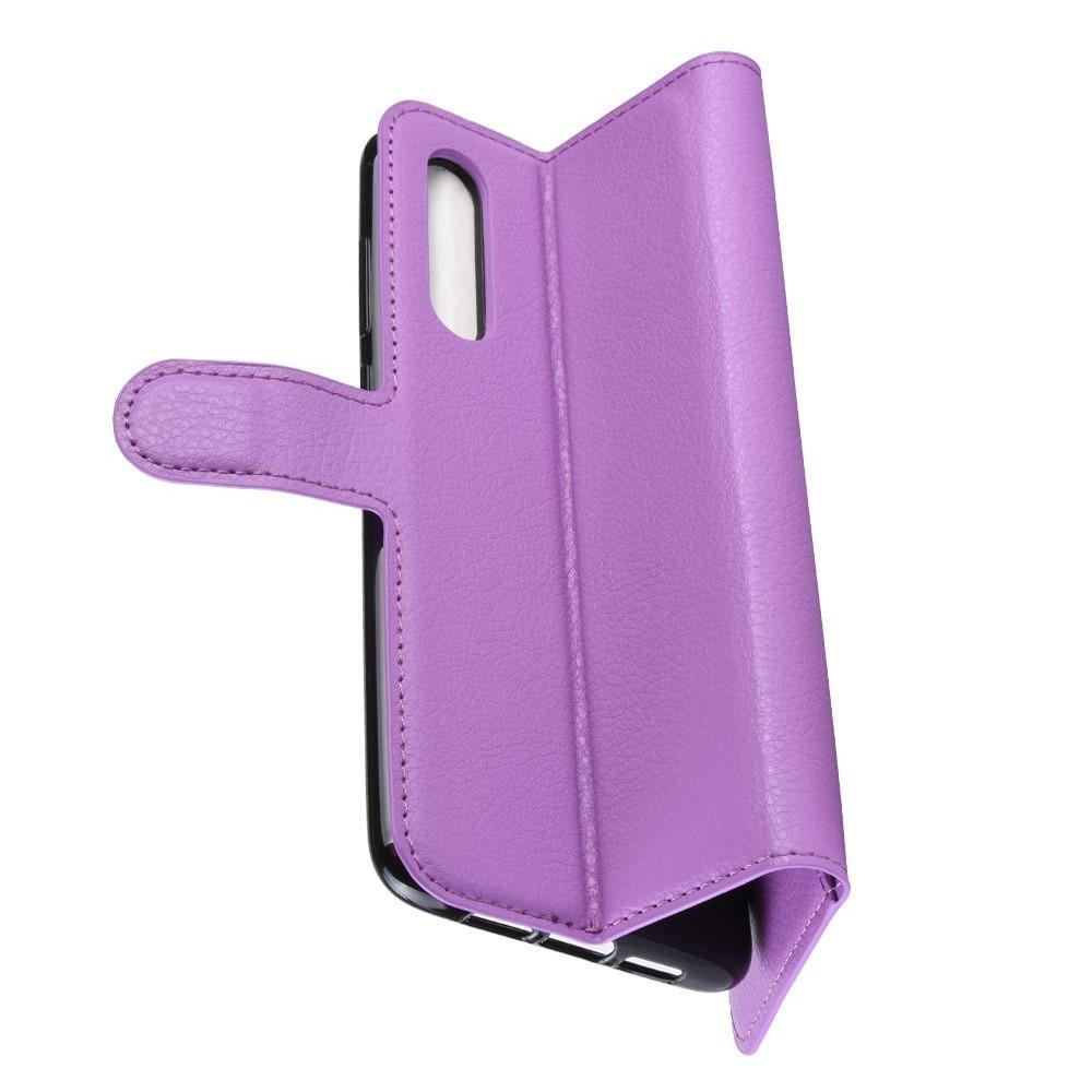 Флип чехол книжка с кошельком подставкой отделениями для карт и магнитной застежкой для Xiaomi Mi 9 Фиолетовый