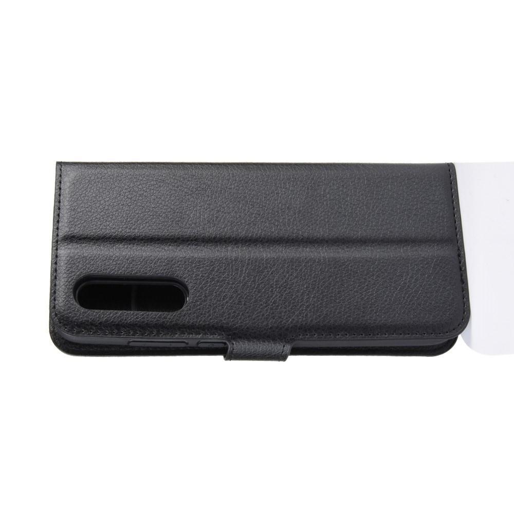 Флип чехол книжка с кошельком подставкой отделениями для карт и магнитной застежкой для Xiaomi Mi 9 Lite Черный