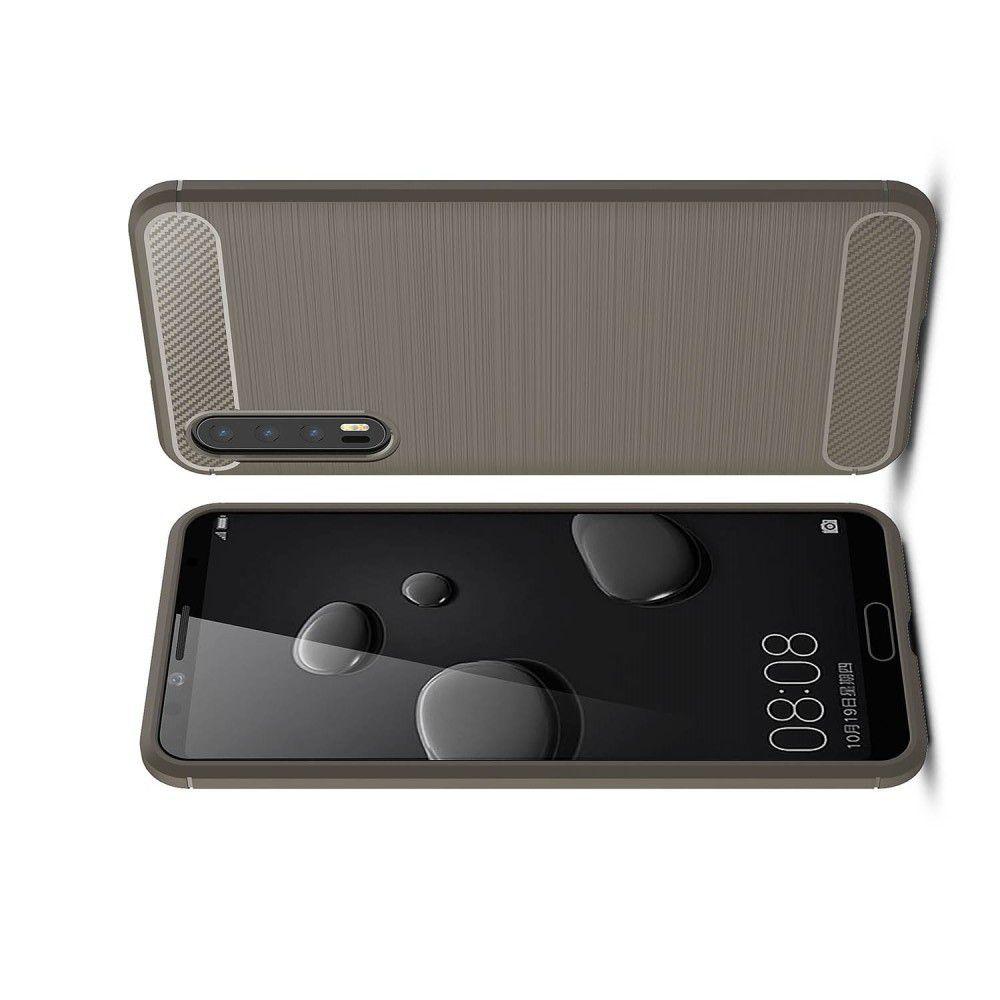 Carbon Fibre Силиконовый матовый бампер чехол для Huawei P20 Pro Серый