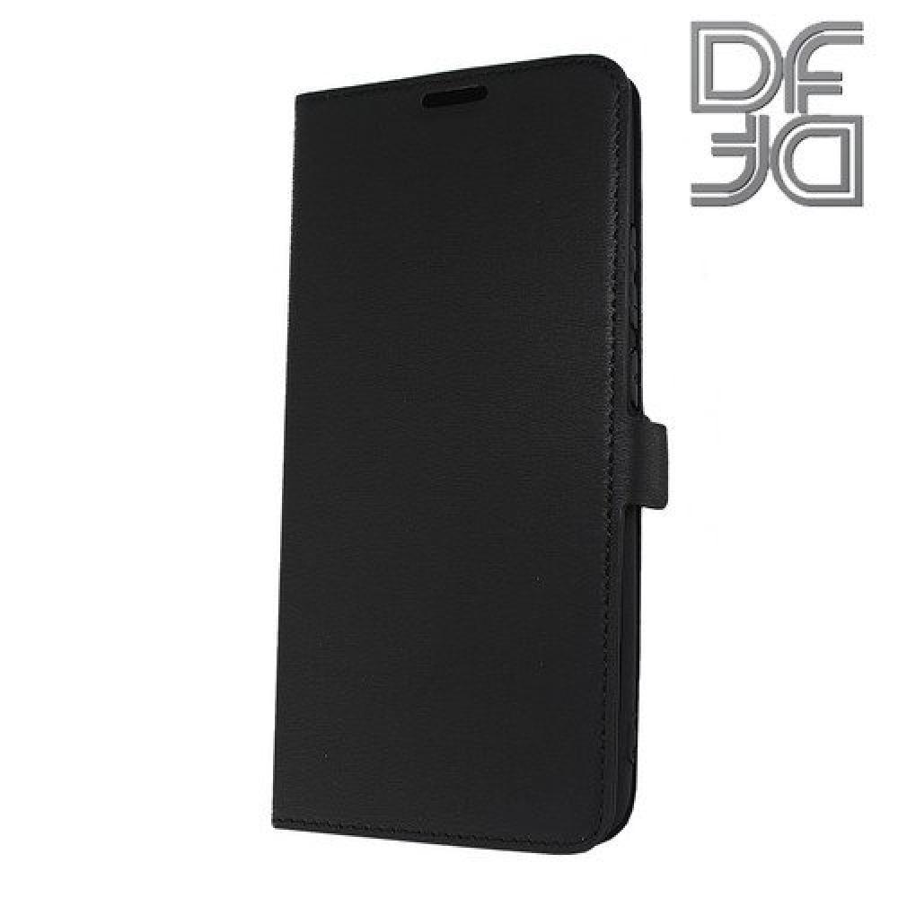 Чехол Книжка DF из Гладкой Искусственной Кожи для Huawei Mate 20 Pro с Кошельком для Карты Черный