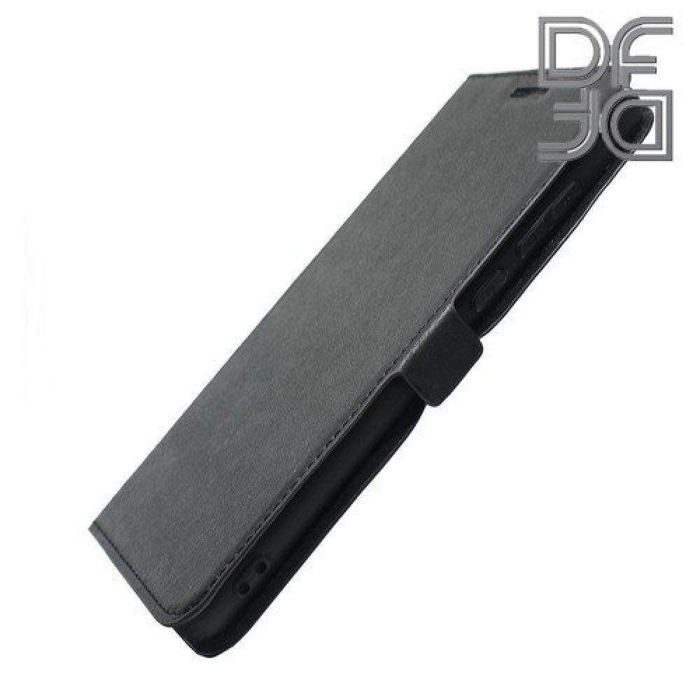 Горизонтальный Искусственно Кожаный Премиум DF Флип Чехол Книжка для Huawei P20 Pro с Боковой Магнитной Застежкой Черный
