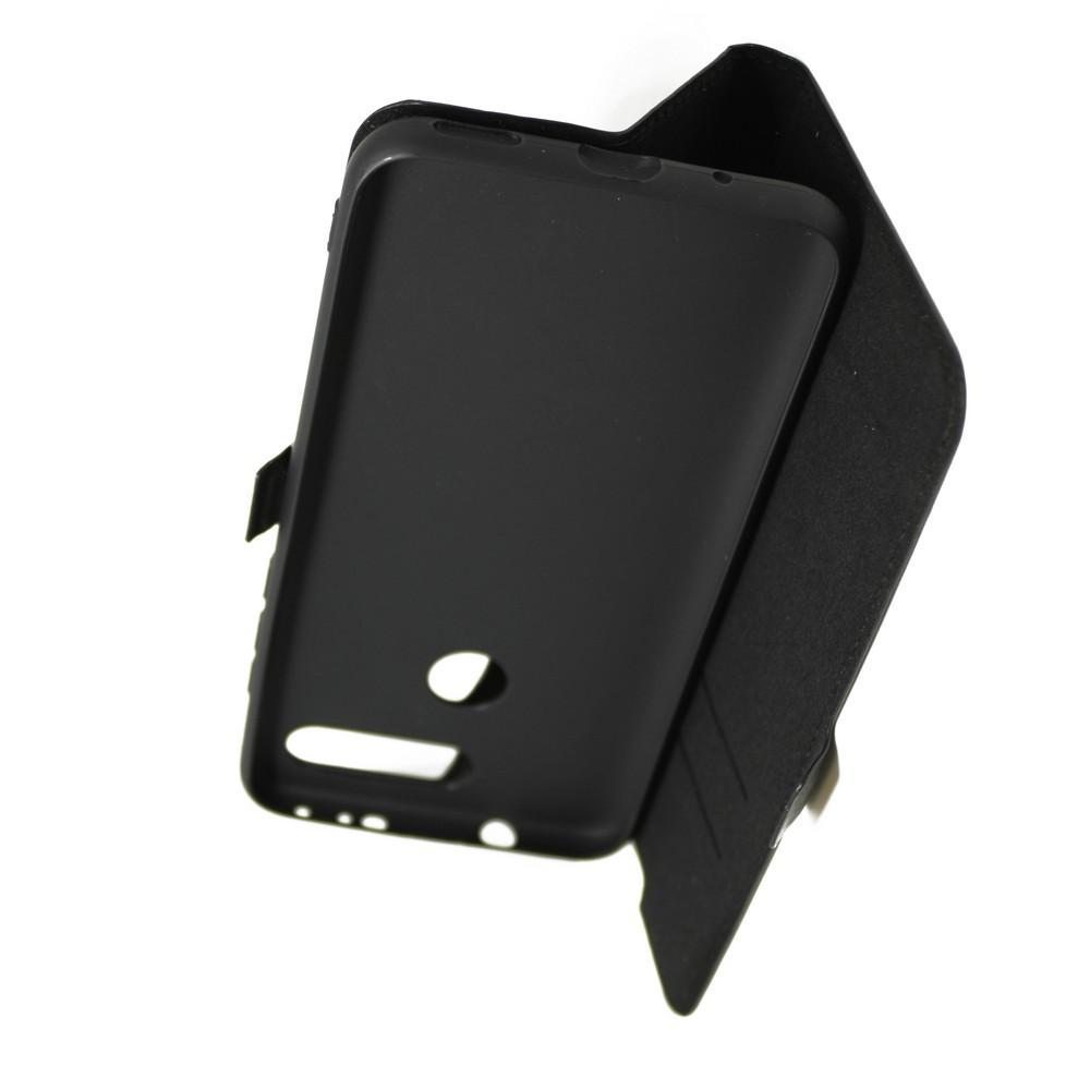 Горизонтальный Искусственно Кожаный Премиум DF Флип Чехол Книжка для Huawei Honor View 20 (V20) с Боковой Магнитной Застежкой Черный