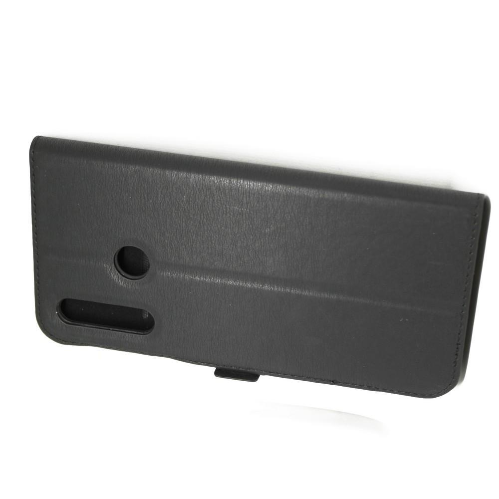 Горизонтальный Искусственно Кожаный Премиум DF Флип Чехол Книжка для Huawei Nova 4 с Боковой Магнитной Застежкой Черный