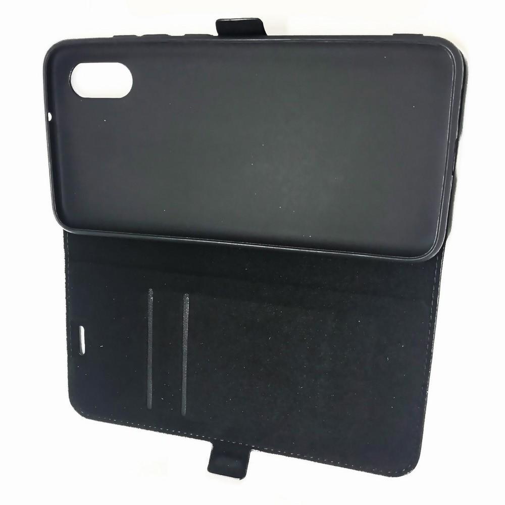 Горизонтальный Искусственно Кожаный Премиум DF Флип Чехол Книжка для Xiaomi Mi 8 Pro с Боковой Магнитной Застежкой Черный