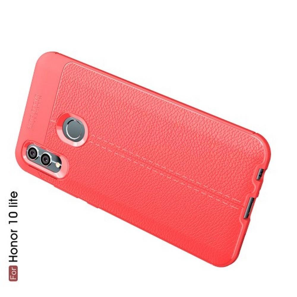 Litchi Grain Leather Силиконовый Накладка Чехол для Huawei Honor 10 Lite с Текстурой Кожа Коралловый