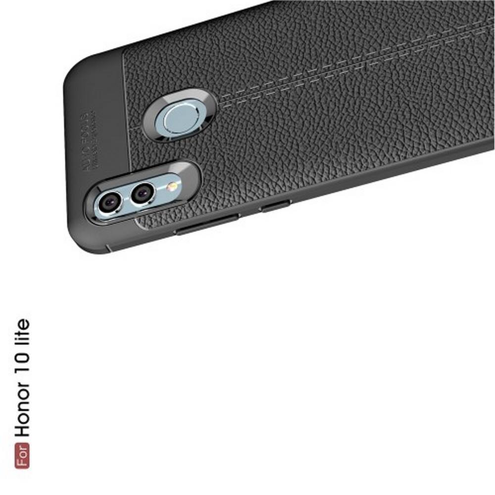 Litchi Grain Leather Силиконовый Накладка Чехол для Huawei Honor 10 Lite с Текстурой Кожа Черный