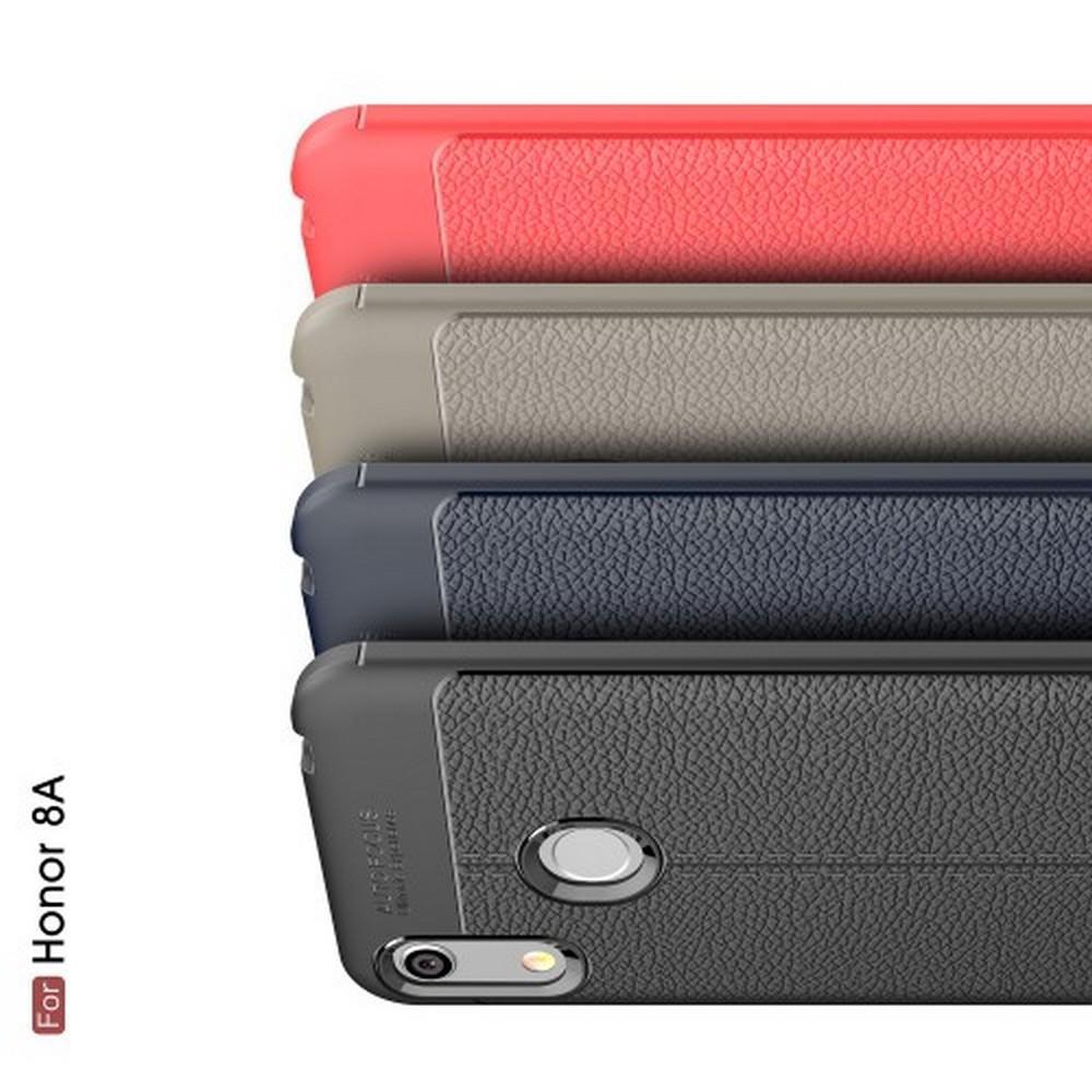 Litchi Grain Leather Силиконовый Накладка Чехол для Huawei Honor 8A с Текстурой Кожа Коралловый