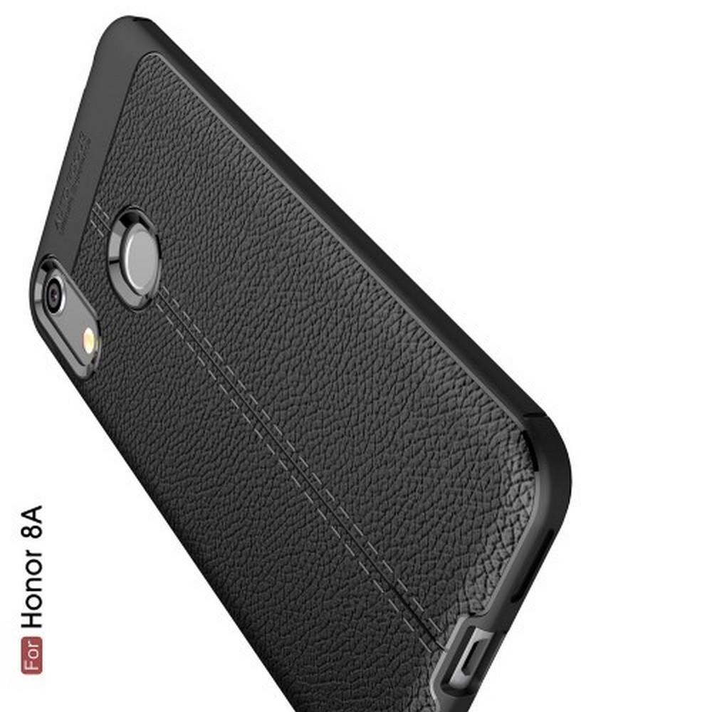 Litchi Grain Leather Силиконовый Накладка Чехол для Huawei Honor 8A с Текстурой Кожа Черный