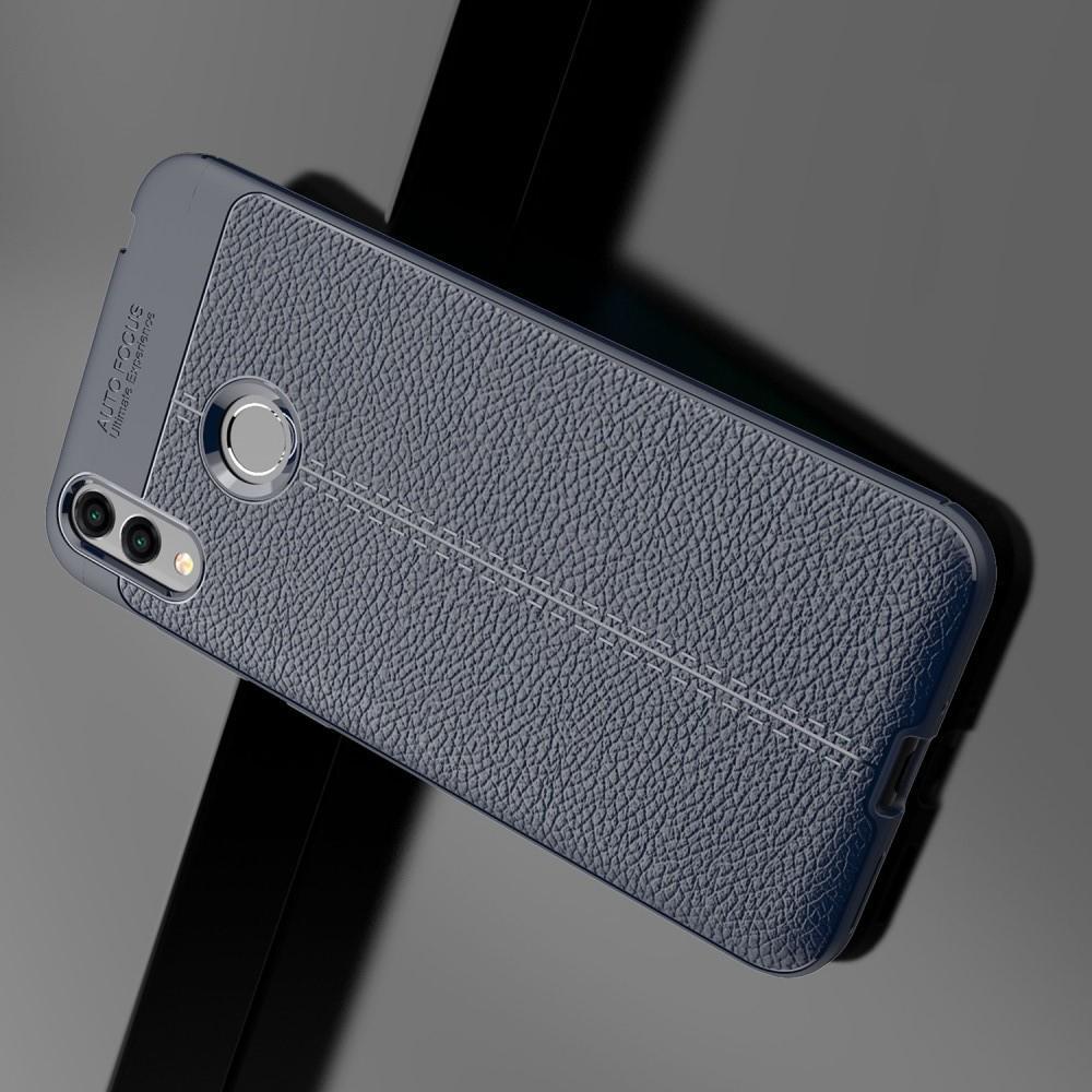 Litchi Grain Leather Силиконовый Накладка Чехол для Huawei Honor 8C с Текстурой Кожа Синий