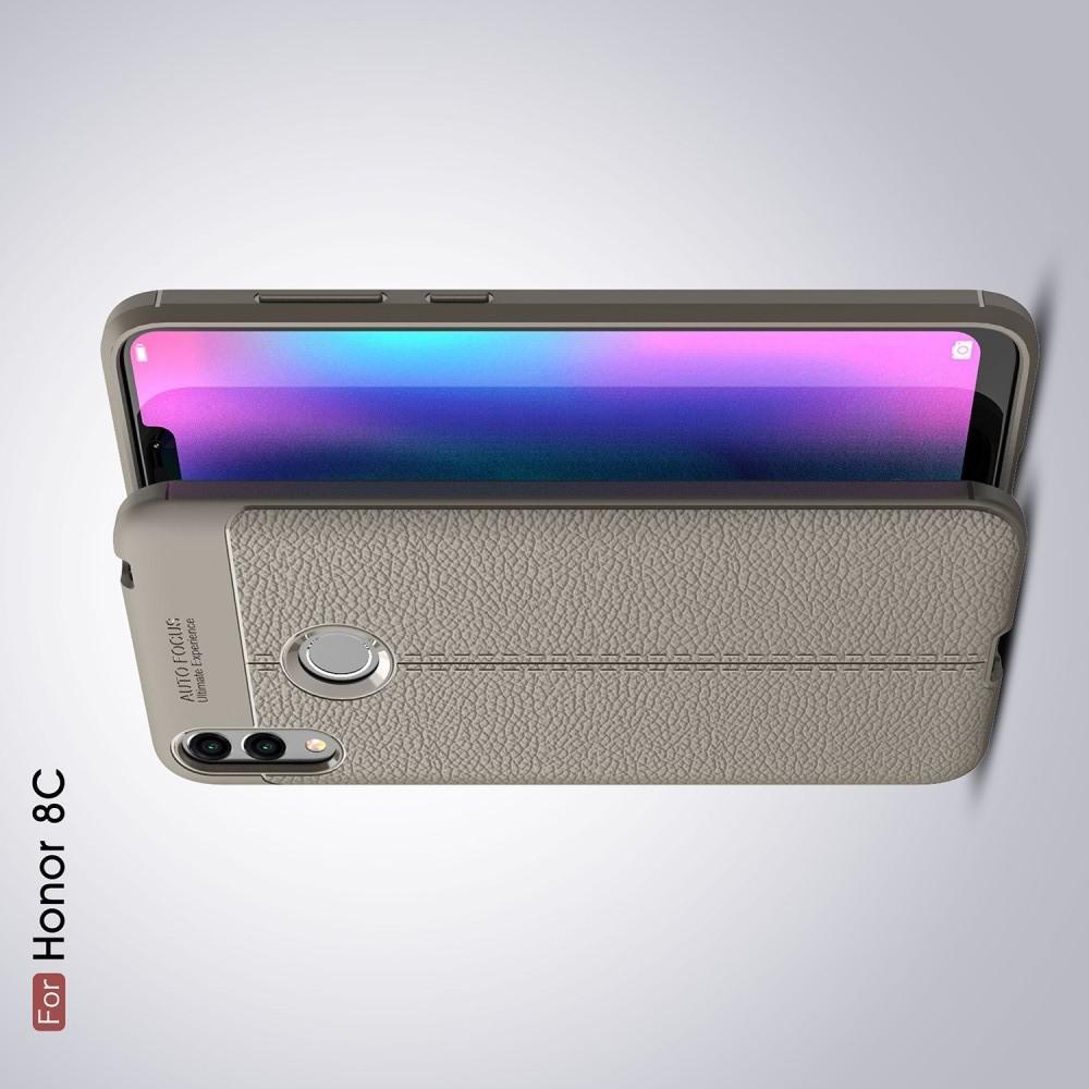 Litchi Grain Leather Силиконовый Накладка Чехол для Huawei Honor 8C с Текстурой Кожа Серый