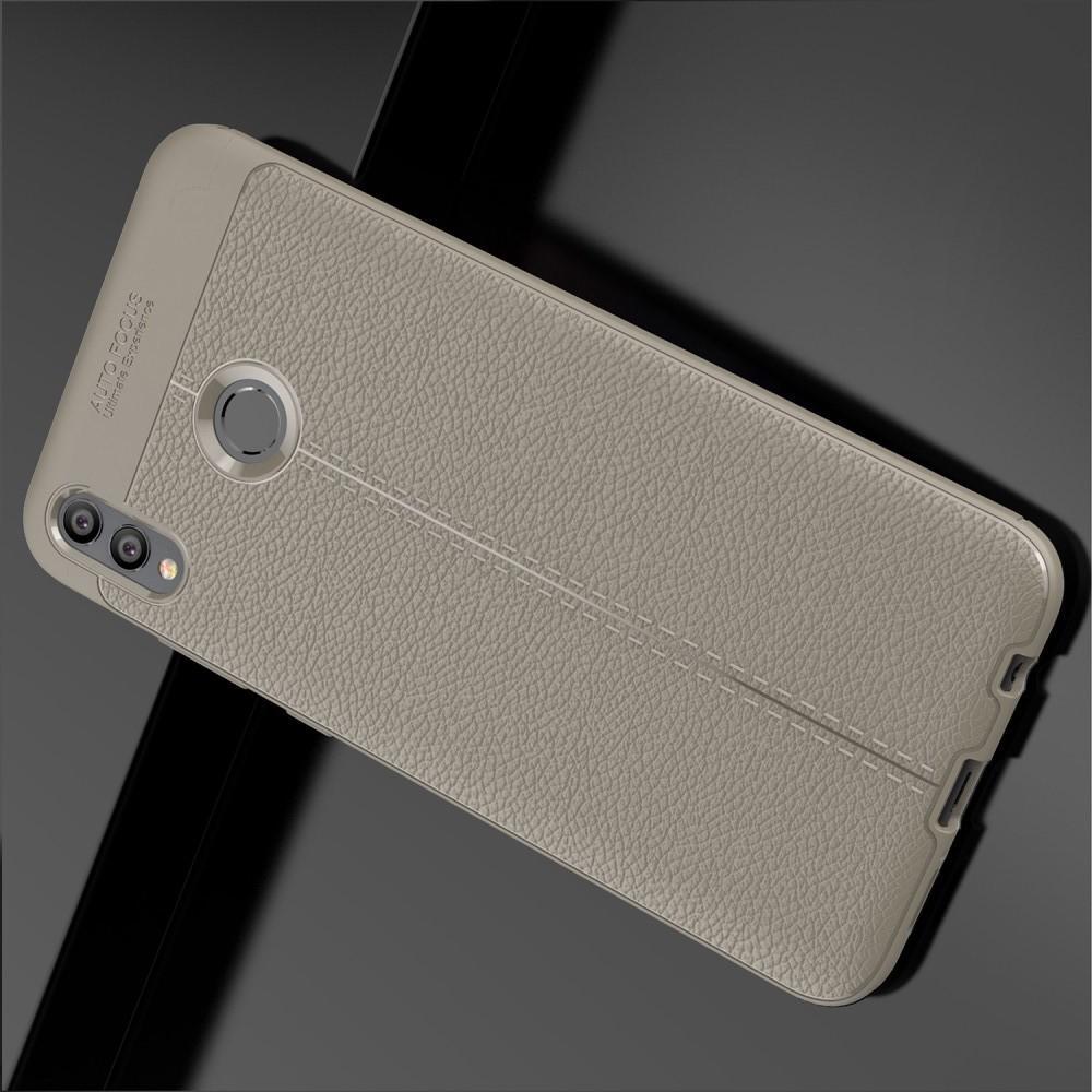 Litchi Grain Leather Силиконовый Накладка Чехол для Huawei Honor 8X Max с Текстурой Кожа Серый