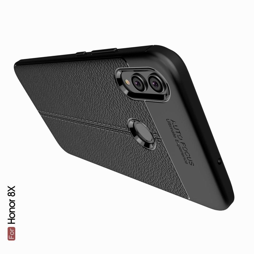 Litchi Grain Leather Силиконовый Накладка Чехол для Huawei Honor 8X с Текстурой Кожа Серый