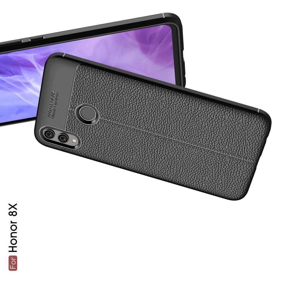Litchi Grain Leather Силиконовый Накладка Чехол для Huawei Honor 8X с Текстурой Кожа Черный