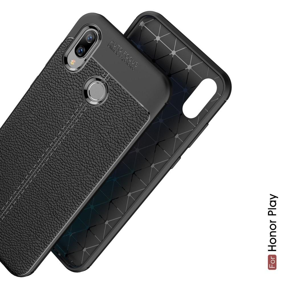 Litchi Grain Leather Силиконовый Накладка Чехол для Huawei Honor Play с Текстурой Кожа Черный