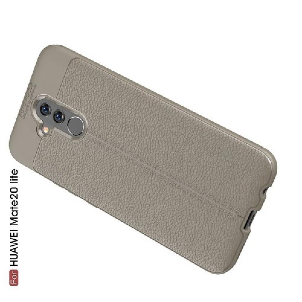 Litchi Grain Leather Силиконовый Накладка Чехол для Huawei Mate 20 Lite с Текстурой Кожа Серый