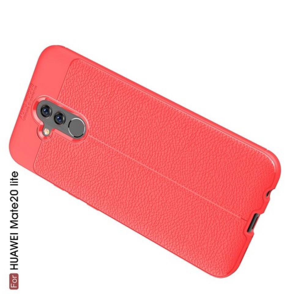 Litchi Grain Leather Силиконовый Накладка Чехол для Huawei Mate 20 Lite с Текстурой Кожа Коралловый