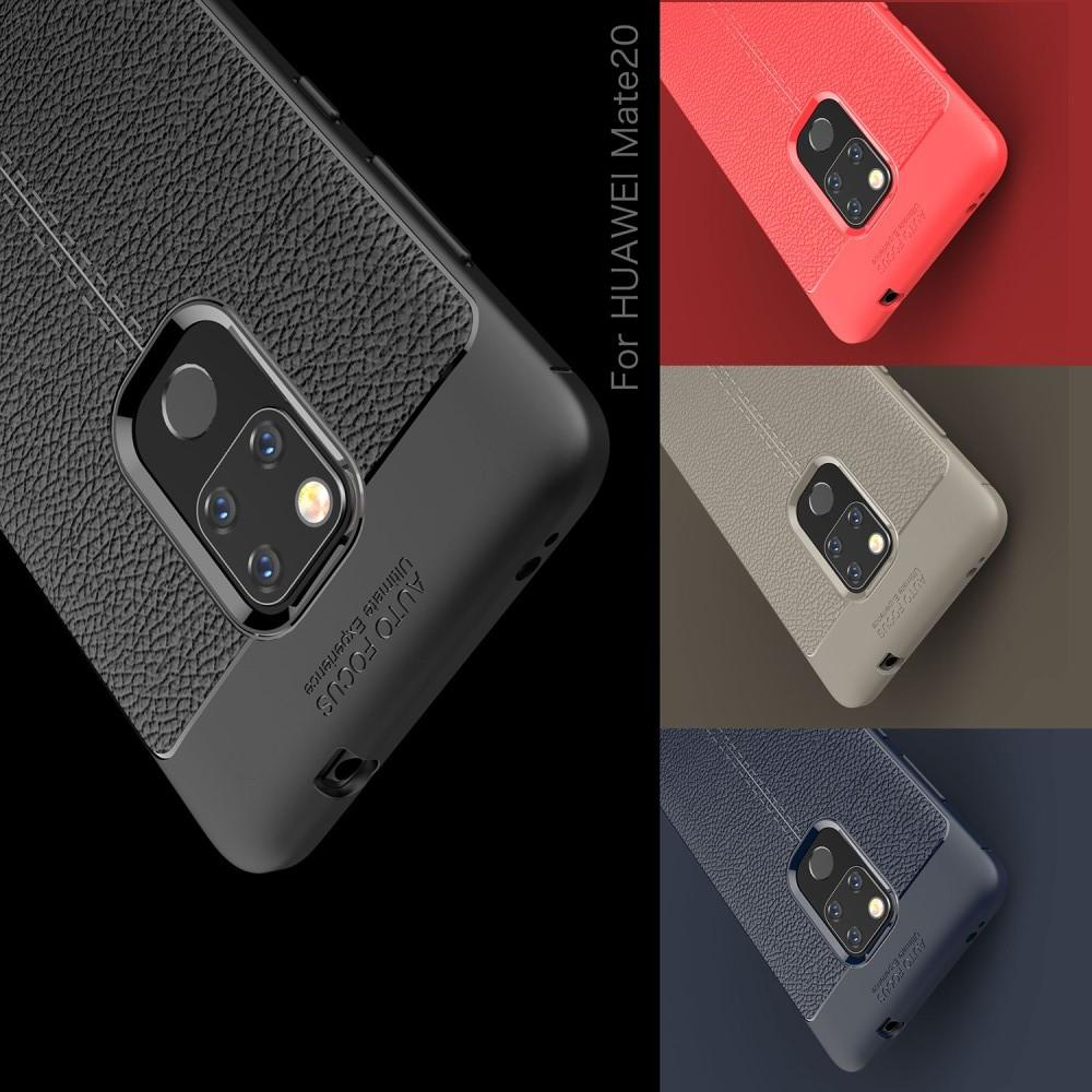 Litchi Grain Leather Силиконовый Накладка Чехол для Huawei Mate 20 с Текстурой Кожа Черный