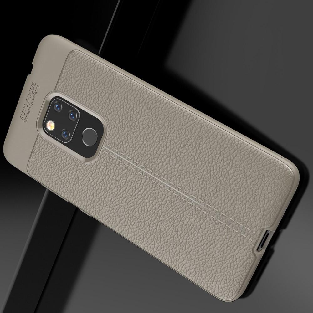 Litchi Grain Leather Силиконовый Накладка Чехол для Huawei Mate 20 с Текстурой Кожа Серый