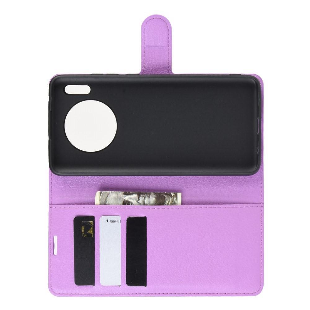 Litchi Grain Leather Силиконовый Накладка Чехол для Huawei Mate 30 с Текстурой Кожа Фиолетовый