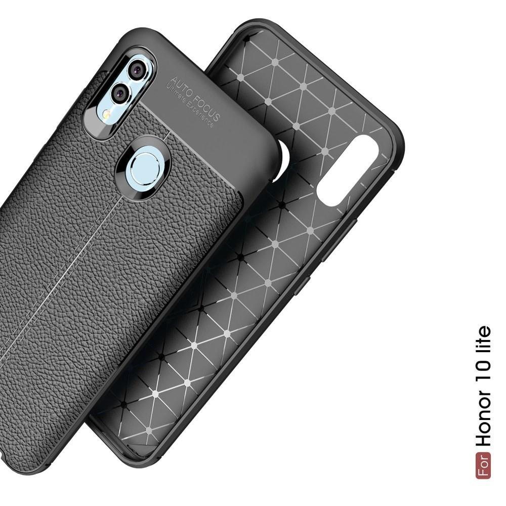Litchi Grain Leather Силиконовый Накладка Чехол для Huawei P Smart 2019 с Текстурой Кожа Черный