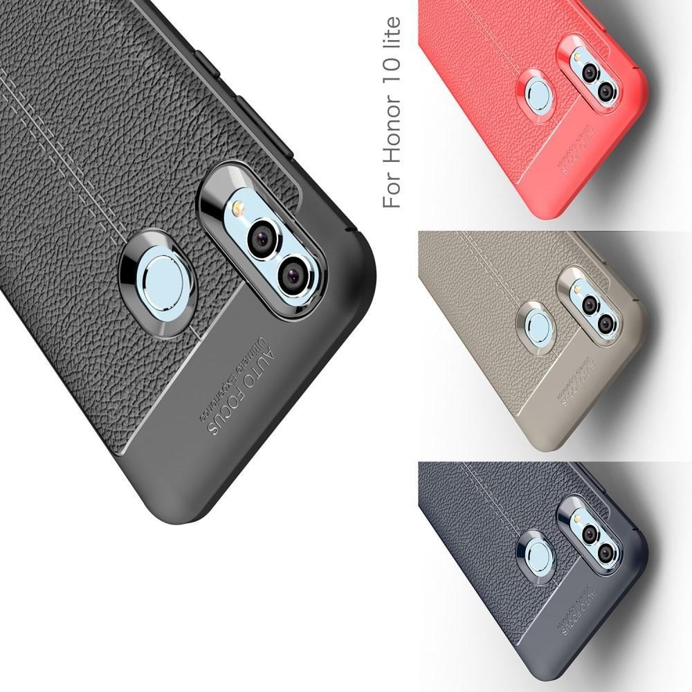 Litchi Grain Leather Силиконовый Накладка Чехол для Huawei P Smart 2019 с Текстурой Кожа Синий