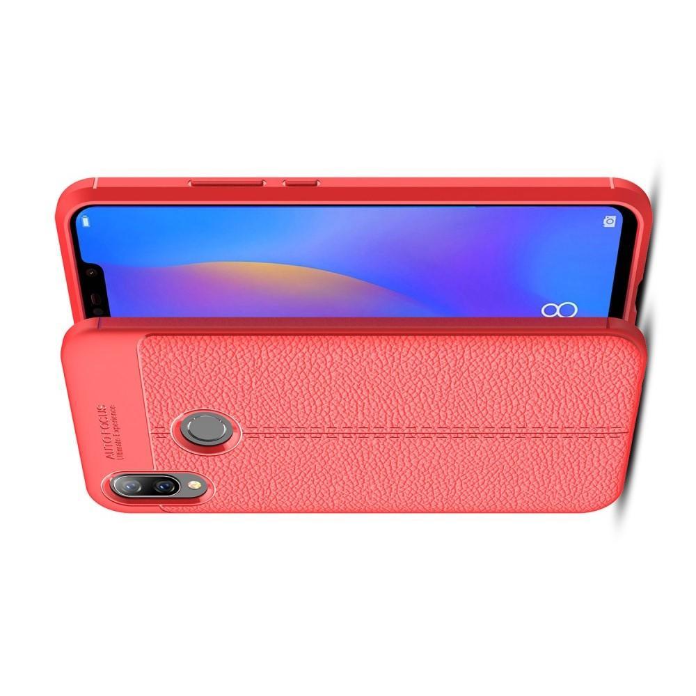 Litchi Grain Leather Силиконовый Накладка Чехол для Huawei P smart+ / Nova 3i с Текстурой Кожа Коралловый