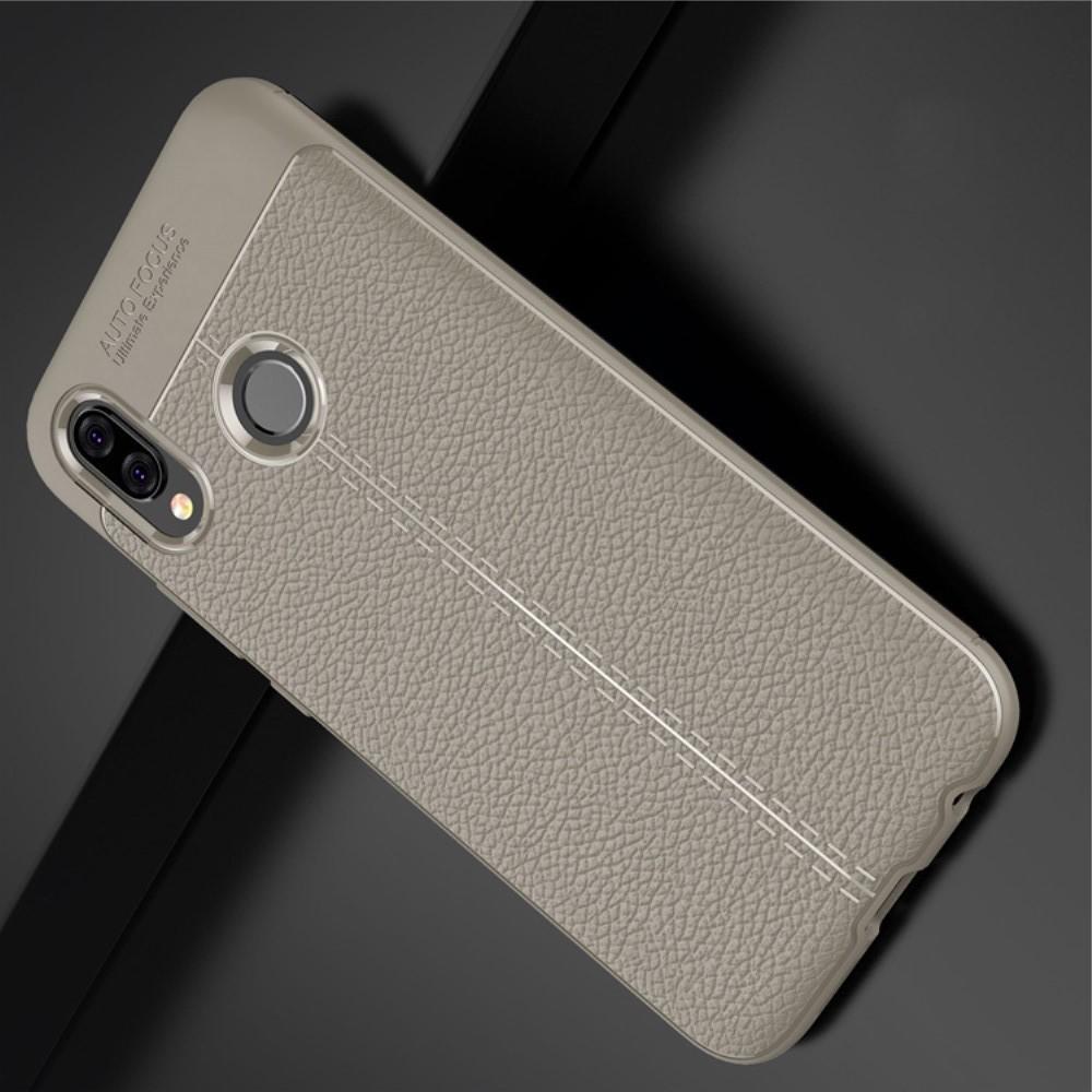Litchi Grain Leather Силиконовый Накладка Чехол для Huawei P20 lite с Текстурой Кожа Серый