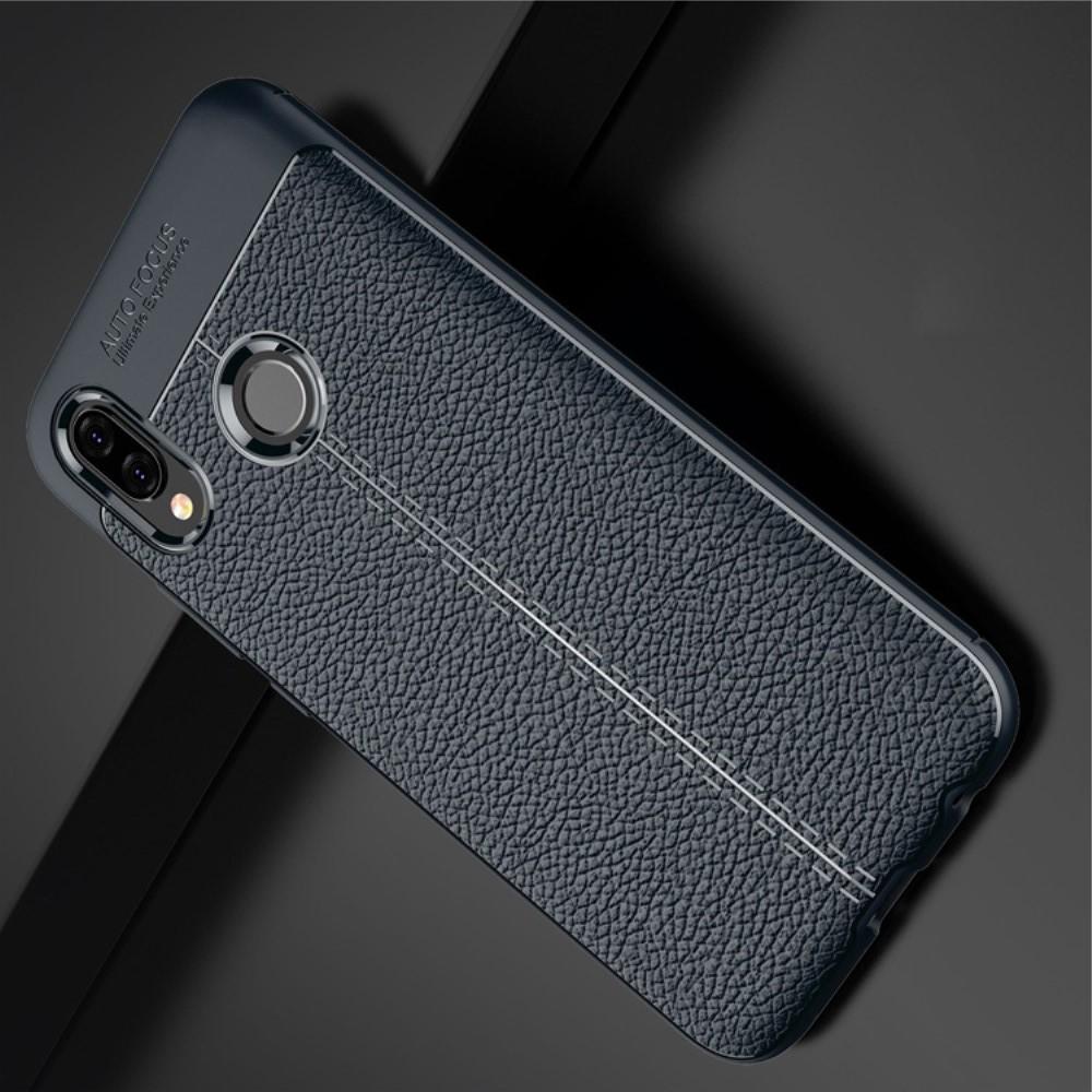 Litchi Grain Leather Силиконовый Накладка Чехол для Huawei P20 lite с Текстурой Кожа Синий