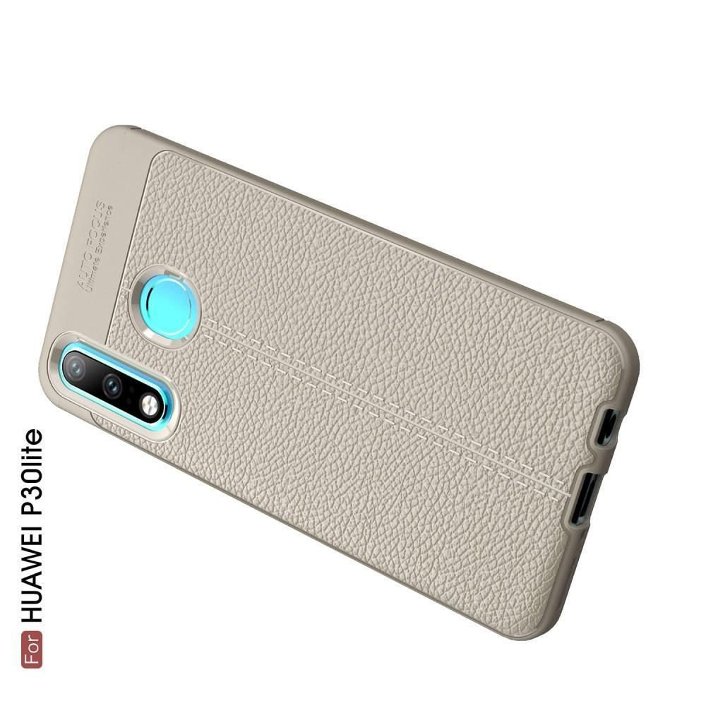 Litchi Grain Leather Силиконовый Накладка Чехол для Huawei P30 Lite с Текстурой Кожа Серый