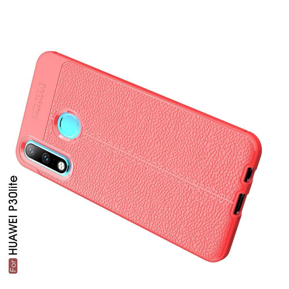 Litchi Grain Leather Силиконовый Накладка Чехол для Huawei P30 Lite с Текстурой Кожа Коралловый