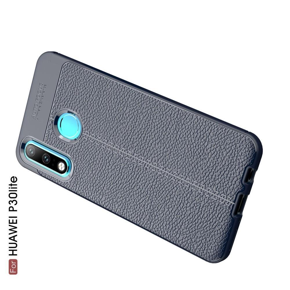 Litchi Grain Leather Силиконовый Накладка Чехол для Huawei P30 Lite с Текстурой Кожа Синий