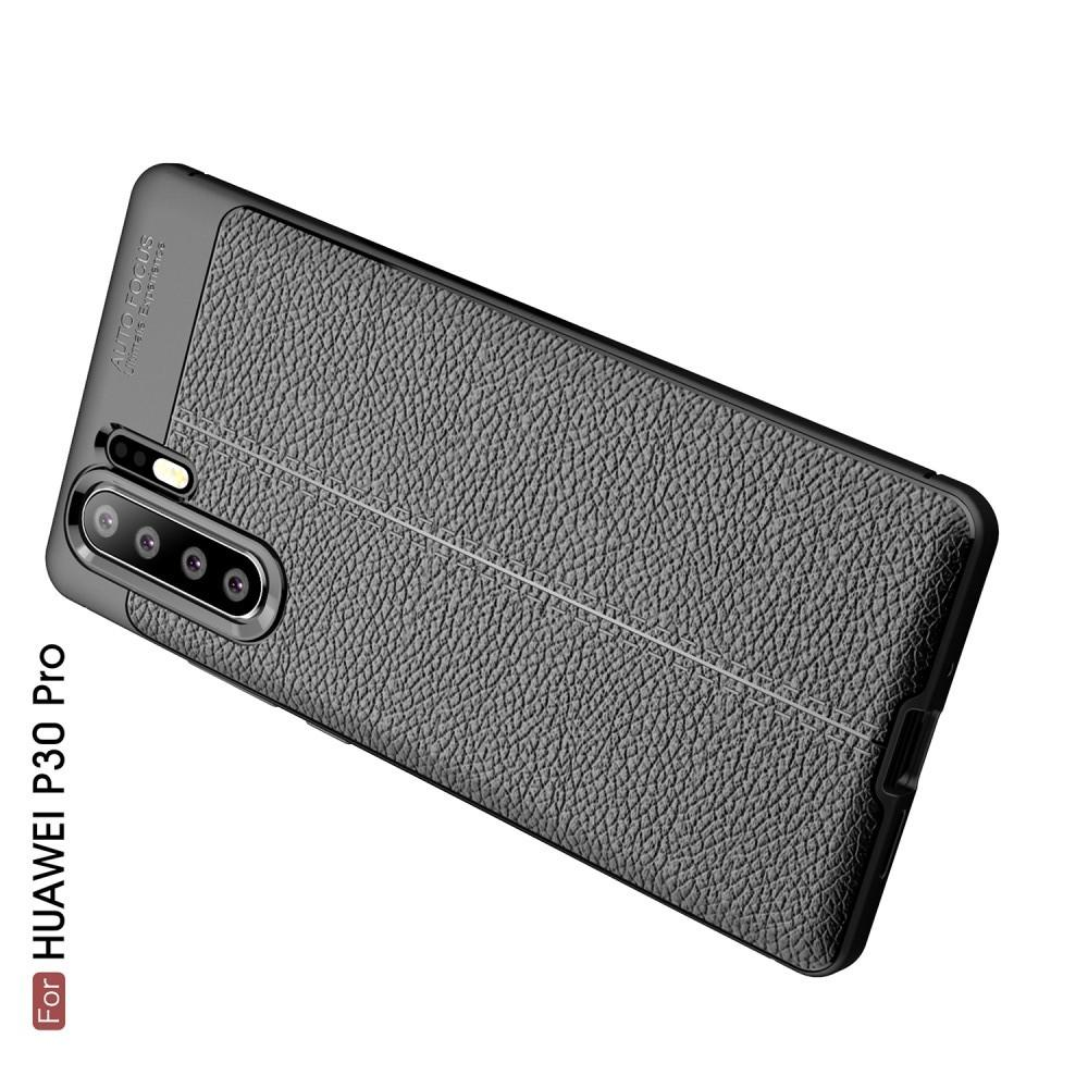 Litchi Grain Leather Силиконовый Накладка Чехол для Huawei P30 Pro с Текстурой Кожа Черный