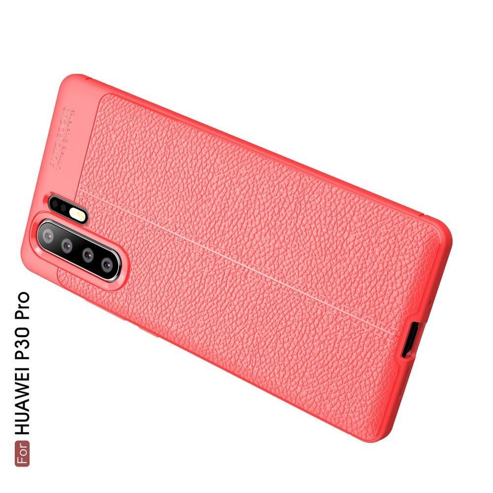Litchi Grain Leather Силиконовый Накладка Чехол для Huawei P30 Pro с Текстурой Кожа Коралловый