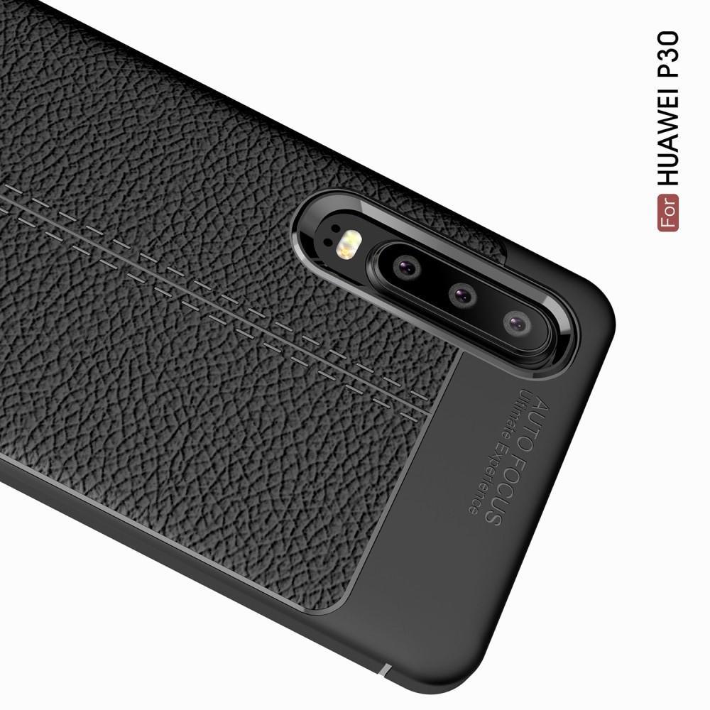Litchi Grain Leather Силиконовый Накладка Чехол для Huawei P30 с Текстурой Кожа Черный