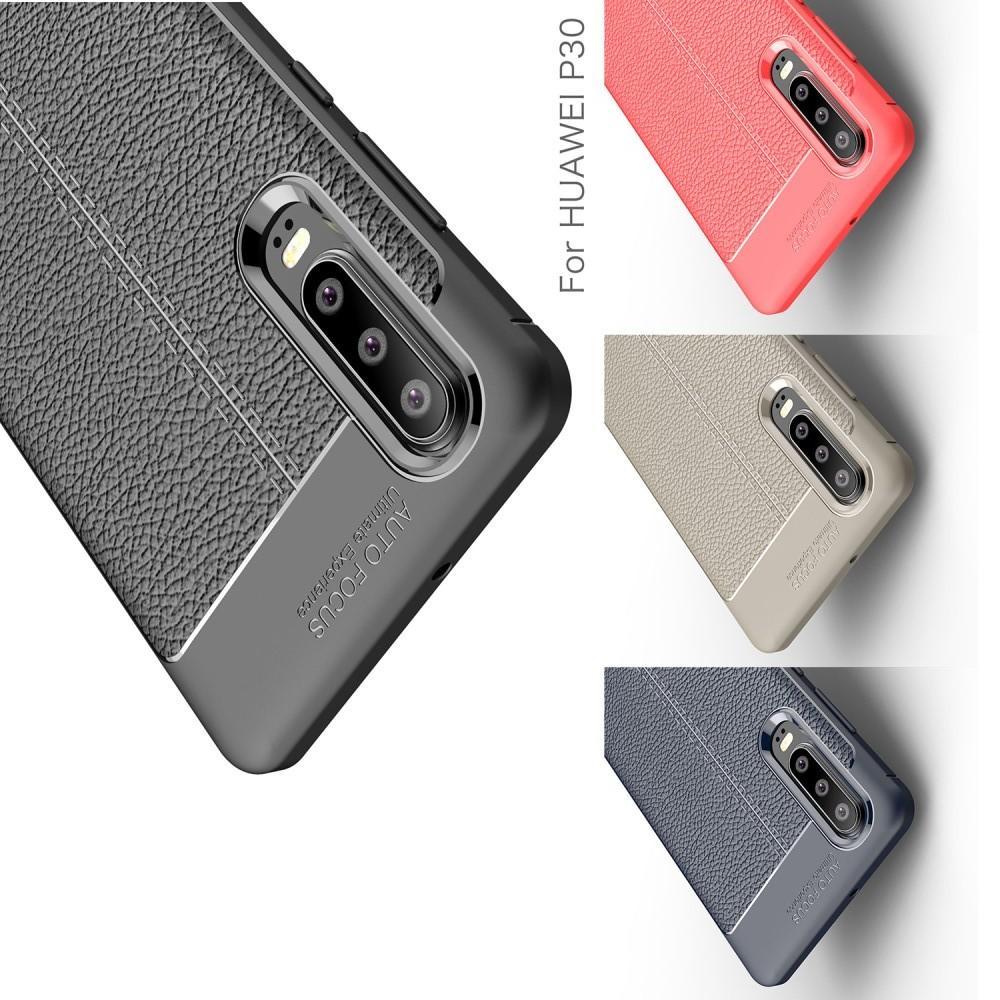 Litchi Grain Leather Силиконовый Накладка Чехол для Huawei P30 с Текстурой Кожа Коралловый