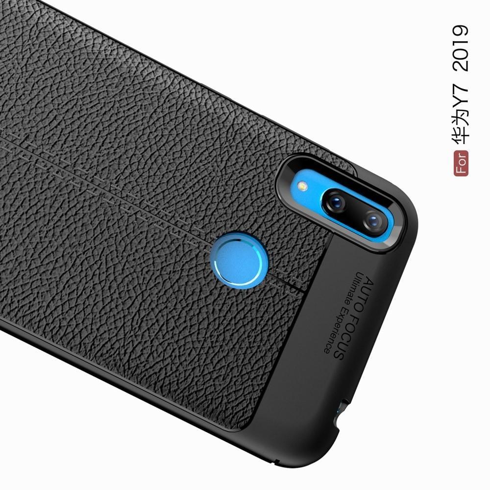 Litchi Grain Leather Силиконовый Накладка Чехол для Huawei Y7 2019 с Текстурой Кожа Черный