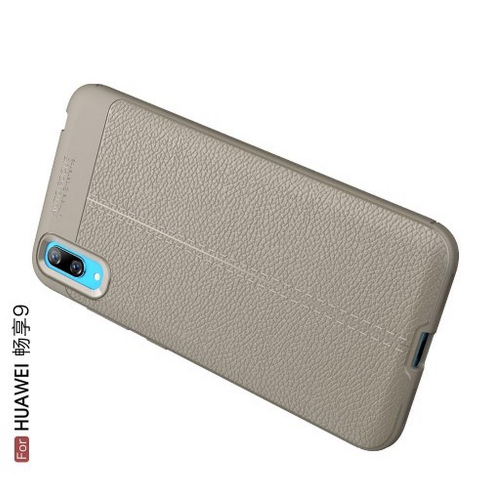 Litchi Grain Leather Силиконовый Накладка Чехол для Huawei Y7 Pro 2019 с Текстурой Кожа Серый