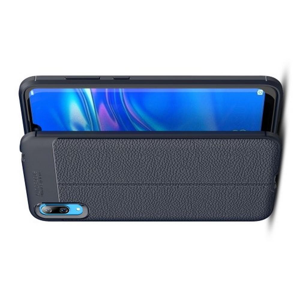 Litchi Grain Leather Силиконовый Накладка Чехол для Huawei Y7 Pro 2019 с Текстурой Кожа Синий