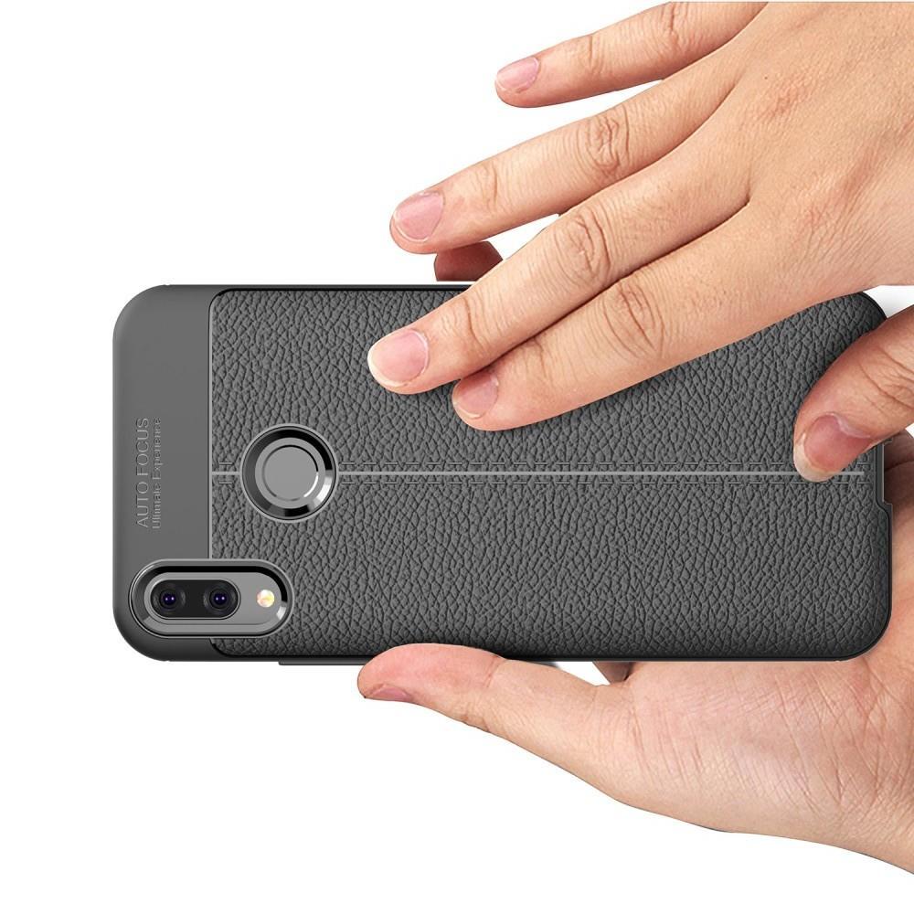 Litchi Grain Leather Силиконовый Накладка Чехол для Huawei Y9 2019 с Текстурой Кожа Синий