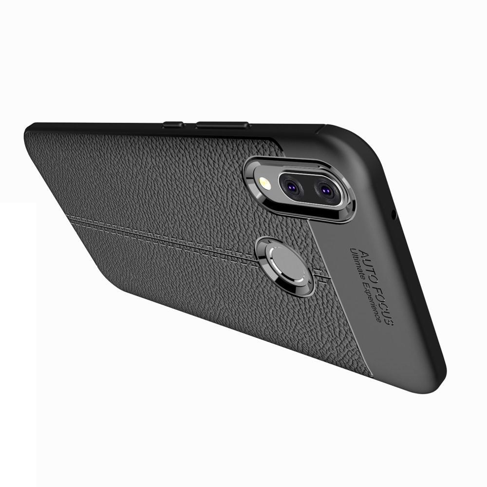 Litchi Grain Leather Силиконовый Накладка Чехол для Huawei Y9 2019 с Текстурой Кожа Черный