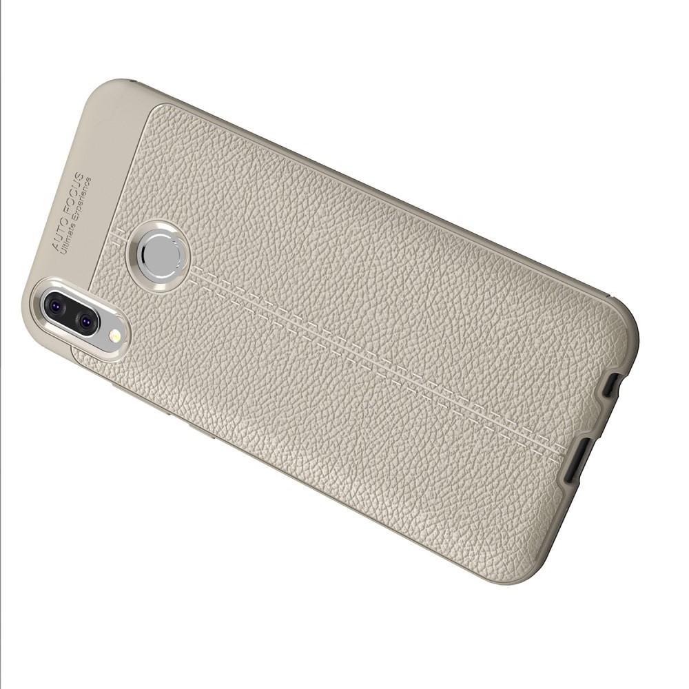 Litchi Grain Leather Силиконовый Накладка Чехол для Huawei Y9 2019 с Текстурой Кожа Серый