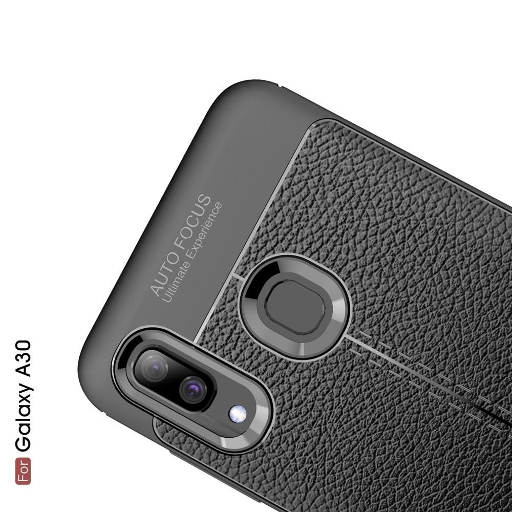 Litchi Grain Leather Силиконовый Накладка Чехол для Samsung Galaxy A30 / A20 с Текстурой Кожа Черный